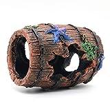 Magicwolf Barril roto decoraciones de acuario para pecera, cuevas de escondite cabaña para ambientes de acuario, accesorios de decoración, barril roto x 1, planta acuática x 2