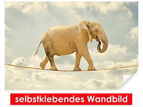 Image murale auto-adhésif Walking Elephant – Facile à coller – Wall Print, Wall Paper, Poster, film vinyle avec point décoratif pour murs, portes, meubles et toutes les surfaces lisses de Trend murs, 150 x 100 cm