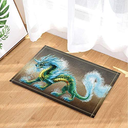 lovedomi coración imaginativa 3D Alfombras baño Ice Geen Dragon Alfombrilla Antideslizante para Suelo Entradas Alfombrilla para Puerta lantera Interior Exterior Alfombra baño para niños