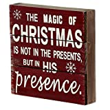 WHY Decor Christmas Box Sign with Inspirational Saying Primitive Signs Wood Box Sign with Quotes Red Box Sign Sayings on Wood Wall Decor Wood Sign for Home and Office Decor with Snowflakes