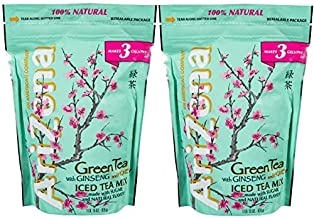 AriZona Instant Green w/Ginseng and Honey Real Sugar Iced Tea Mix 3 gallon (31 oz.) Bag (Pack of 2), Just Add Water for a Deliciously Refreshing Iced Tea Beverage