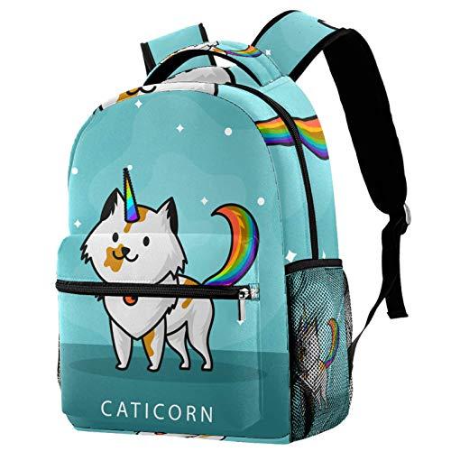 Backpack Flat Cute Cat Unicorn Wannabe Clipart School Bag Rucksack Travel Casual Daypack for Women Teen Girls Boys