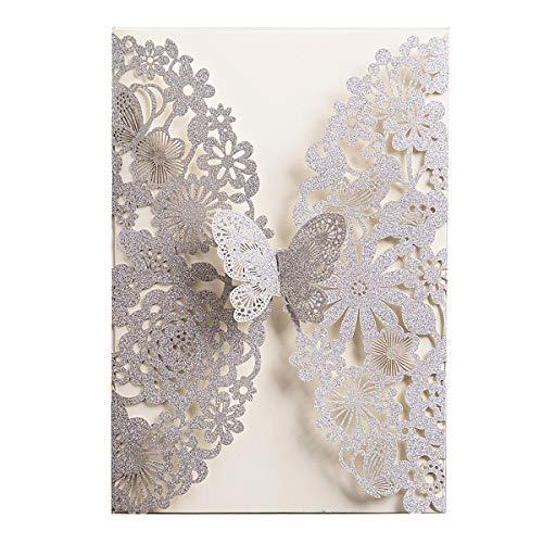 WISHMADE 20x Silver Glitter Laser Cut Tarjetas de invitación de boda Plata con mariposa y sobres para despedida de soltera Fiesta de graduación de cumpleaños (20 piezas)
