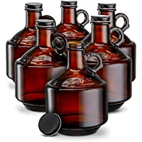 Set of 6 Kook Amber Glass Bottles Growlers 32oz