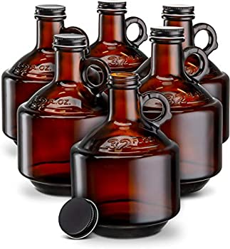 Set of 6 Kook Amber Glass Bottles Growlers 32oz