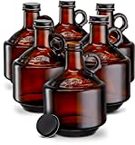 Amber Glass Bottles, by Kook, Growlers, with Black Plastisol Lined Lids, Beer, Soda, Cider,...