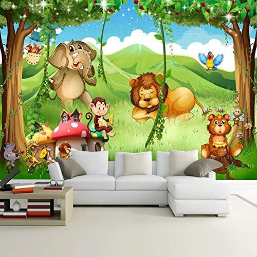 Wallpaper 3D werbung Benutzerdefinierte Foto Wandbild Tapete Wald Cartoon Tier Lion Elephant Monkey 3D Kinderzimmer Kinderzimmer Hintergrund Wandmalerei 1㎡(1 Quadratmeter)