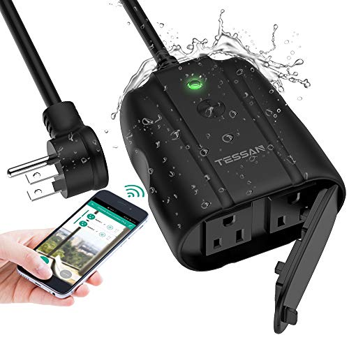 Outdoor Smart Plug, TESSAN WiFi Outlet Works with Alexa, Google Assistant, 2 Individual Socket Outside Power Strip Waterproof Timer Extension Cord with Switch for Lights and 2HP Pool Pump