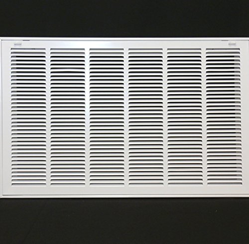30' X 20 Steel Return Air Filter Grille for 1' Filter - Removable Face/Door - HVAC Duct Cover - Flat Stamped Face - White [Outer Dimensions: 32.5 X 21.75]