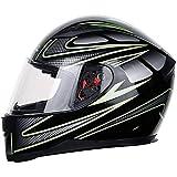 Casco de moto de cara completa con bufanda extraíble para el cuello de invierno aprobado por DOT (XXL, verde)