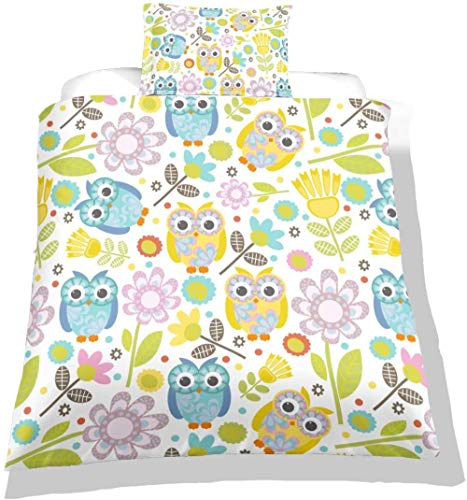 HKDGHTHJ 3D bedding is super soft and comfortable animal cute owl flower 220x230 CM 4pcs Bedding Set Duvet Cover Pillowcase Bed Sheet Set for Couple Lovers Kids Girls Twin Full Queen King Size