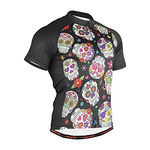 Sugar Skull Bike Jersey Mens Mountain Bycling Shirt with 3 Rear Pockets Full-Zip Short Sleeve S(20102327)