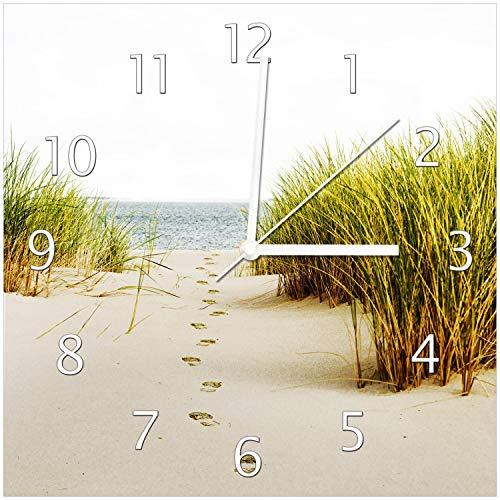 Wallario Glas-Uhr Echtglas Wanduhr Motivuhr • in Premium-Qualität • Größe: 30x30cm • Motiv: Spuren im Sand- Fußspuren durch die Düne zum Meer