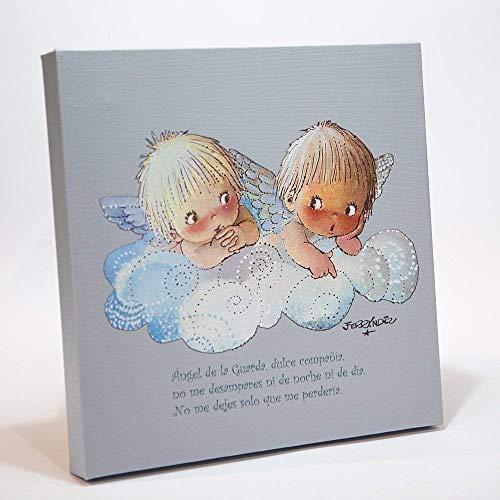 """Angelitos nube azul y oración""""Angel de la guarda..."""" 30x30cm. Ilustración de Juan Ferrándiz impresa en lienzo. Serie limitada y numerada. Regalo recién nacido y Bautizo"""
