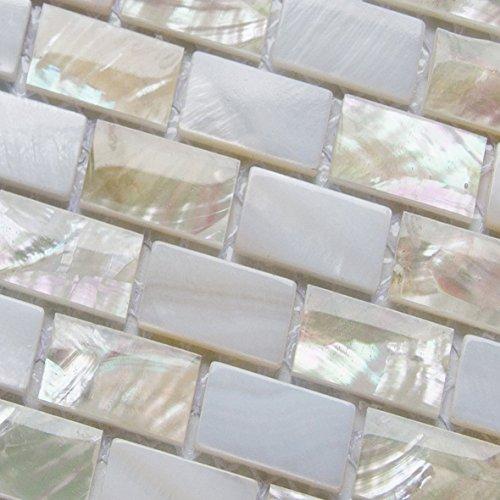 XUAN Perlmutt Mosaikfliesen Flussbett Natur Perlmuschel Mosaik Rechteck Ziegel Weiß Fliesen