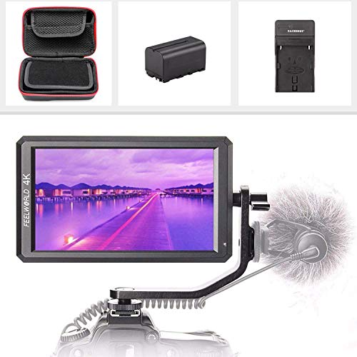 "FEELWORLDF6 + Storage Case + F750 Battery + Charger, 5.7"" IPS 4K 1920x1080 Full HD HDMI Video Field Monitor Kit Compatible DSLR/Mirrorless Camera Zhiyun Crane Feiyu Moza DJI Ronin Gimbal"