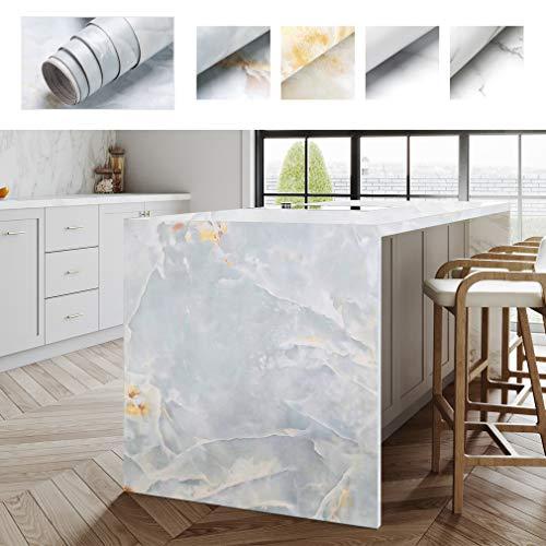 PROHOUS Möbelaufkleber Selbstklebende Marmor Folie Klebefolie Möbelfolie 0.61 x 5M Marmorfolie PVC Aufkleber Küchenschrank Folie mit Marmoroptik Dekorfolie für Möbel Küche Kommode Schrank (Type C)