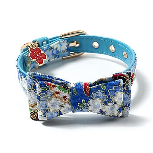 JHGJHG Cuello de Perro de Gato Impresión Impermeable Flower Soft Ajustable Moda Pet Colllar Microfibra Perros Collar (Color : Light Blue, Size : S01)