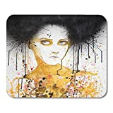 Mauspads Figur Gelb Modern Aquarell Portrait of Beautiful Girl Selbstgemachtes Malerei Gesicht...