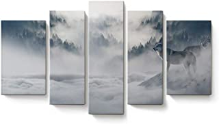 Anmevor Canvas Art Prints Wall Artwork 5 Panels Modern Painting Decorations for Living Room Bedroom Framed Ready to Hang Misty Forests of Evergreen Coniferous Trees in an Ethereal Landscape