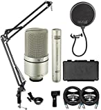 MXL 990 991 Recording Condenser Microphone Package for Vocals, Guitars, Drum Overheads, and Acoustic Instruments Bundle with Blucoil 2-Pack of 10-FT Balanced XLR Cables, and Boom Arm Plus Pop Filter