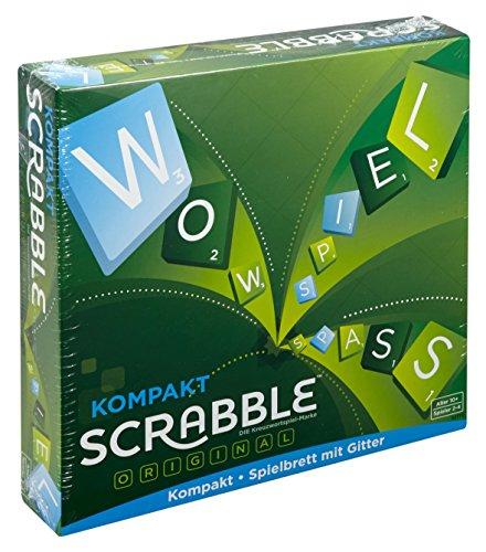 Mattel Games CJT13 Scrabble Kompakt Wörterspiel, Familienspiel geeignet für 2 - 4 Spieler, Spieldauer ca. 60 Minuten, ab 10 Jahren