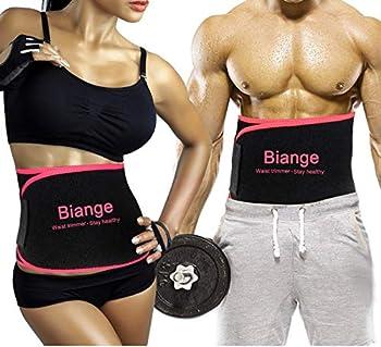 Biange Waist Trimmer for Women Men Sweat Band Waist Trainer Belt Stomach Wraps Sauna Belt Neoprene Ab Belt - with Mesh Bag