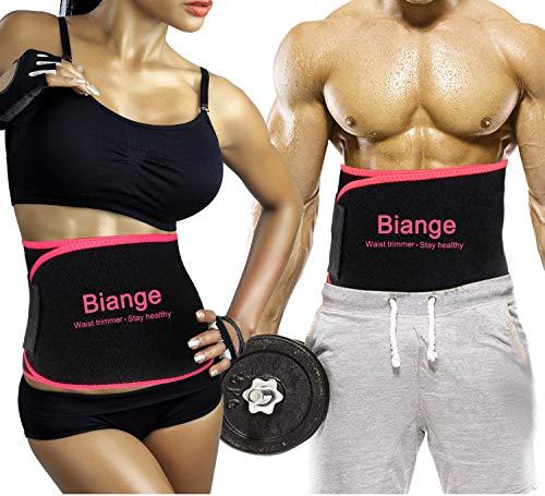 Biange Waist Trainer for Women Men Sweat Band Waist Lower Belly Fat Belt, Stomach Wraps Sauna Belt, Neoprene Ab Belt - with Mesh Bag