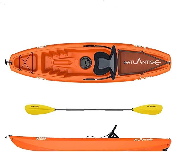 canoa kayak - atlantis kayak-canoa kedra arancio cm 268 - seggiolino - gavone - ruotino - pagaia b0851cpvkk
