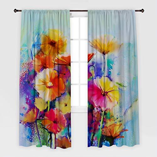 Henge Home Roses Flores patrón romántico clásico jardín pétalos Hojas de Arte Decorativo impresión Beige Cortina Azul