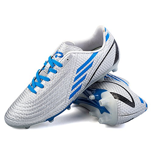DoGeek Football Boots Junior Adults Soccer FG Football Trainers (The Size are Correct Now, Choose One Size Bigger Than You Need) Grey