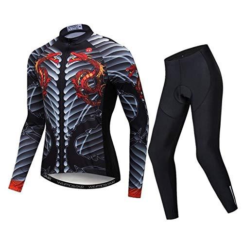 WSXEDC Maillot De Ciclismo Conjunto para Hombre,Novedad Negro Esqueleto Dragón Estampado Road...