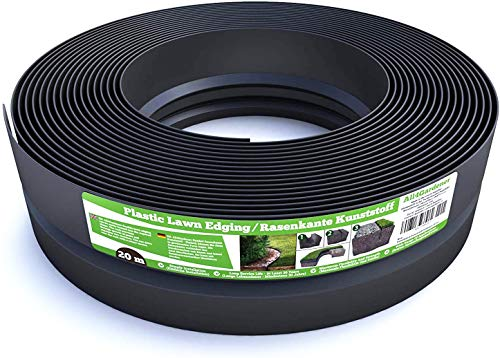 Flexible Rasenkante Kunststoff (20 m, schwarz) - Robustes Stay-in-Place Design - Sehr Gut zu Verarbeiten, Min. 30 Jahre Lebensdauer, Unsichtbar - Beeteinfassung aus 100% recyceltem Plastik
