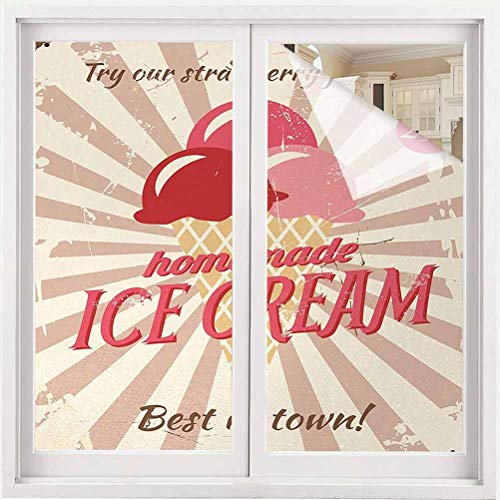 ParadiseDecor Ice Cream Window Clings Vintage Style Sign with Homemade Ice Cream Best in Town Quote Print Window Film for Home UV Blocking/Privacy 23.6 x 118 inch