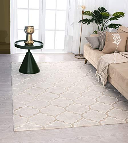 Mia´s Teppiche Anna Moderner Wohnzimmer Teppich Kurzflor 12 mm Muster, 100% Polyester, Beige, 80x150 cm