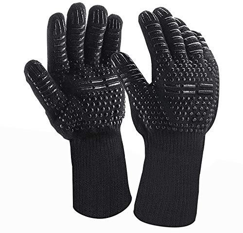 Grillhandschuhe, Ofenhandschuhe Hitzebeständige Handschuhe bis zu 800°C EN407,BBQ Handschuhe 1 Paar für Grill,Kochen,Backen,Schweißen Schwarz