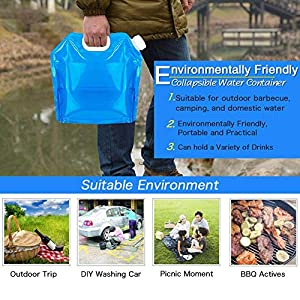 Redmoon 4Pcs 5L Collapsible Water Container, BPA Free,Outdoor Folding Travel Climbing Camp Emergency Water Bag Container Package for Sport Camping Riding Mountaineer, Food Grade