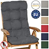 Beautissu High Back Chair Cushion Flair HL 120 x 50 x 8cm Recliner Garden Chair Pad Soft Foam Flakes Graphite Grey