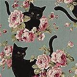 Blaugrüner Baumwollleinen-Canvas-Stoff schwarze Katzen und