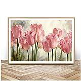 HYFBH Pink Tulip Carteles e Impresiones Color Pinturas sobre Lienzo Cuadro Flor nórdica Imágenes de Arte de Pared para Sala de Estar 60x80cm (23.6'x31.5) con Marco
