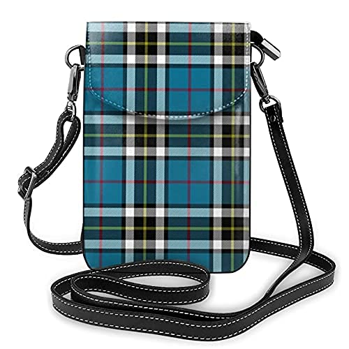 Bolso de cuero ligero de la PU pequeño bolso de Crossbody mini bolsa del teléfono celular bolsa de hombro con correa ajustable Thomson Thompson Mactavish Tartan