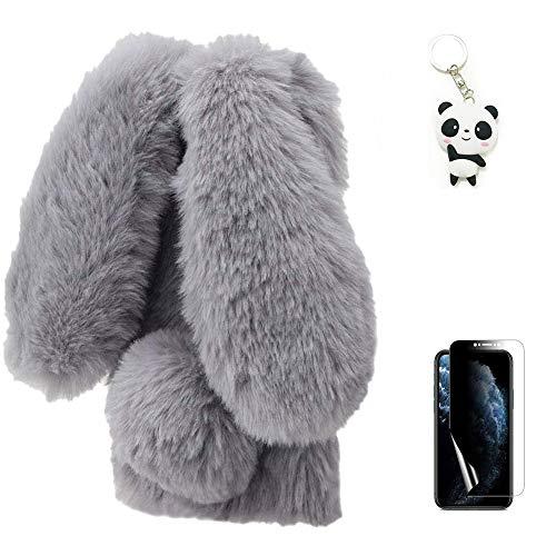 Artfeel Plüsch Kaninchen Hülle für Samsung Galaxy A41,Niedlich Pelzig Hase Ohren Haarballen Weich Flauschige Winter Warm Handyhülle Faux Pelz Glitzer Diamant Silikon Schutzhülle,Grau
