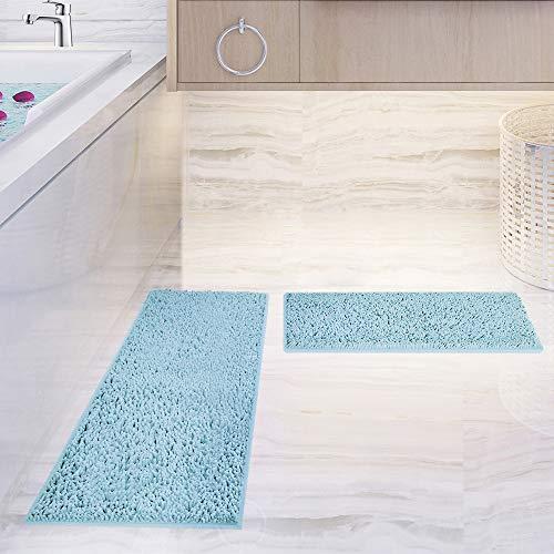 Bath Mat Set 2 Piece Chenille Bath Rug, Non-Slip Bathroom & Kitchen Rugs and Mats Sets Shower Runner Rug for Tub Soft Microfiber Water Absorbent Machine Washable Plush Carpet for Bedside (Light Blue)