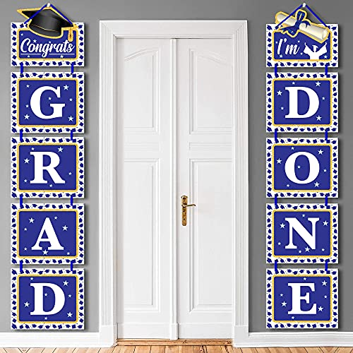 Congrats Grad I'm Done Graduation Door Sign - No DIY Required, Graduation Decorations 2021 | Blue and Gold Graduation Decorations 2021 Backdrop | Congrats Grad Banner for Class Of 2021 Decorations