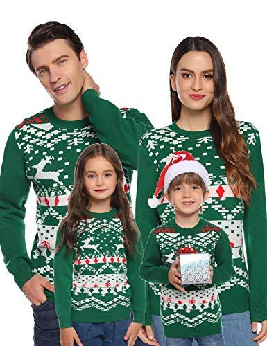 Akalnny Jersey Suter de Navidad Punto con Cuello Redondo Casual Manga Larga Navideos Suteres para Familiar Hombres Verde