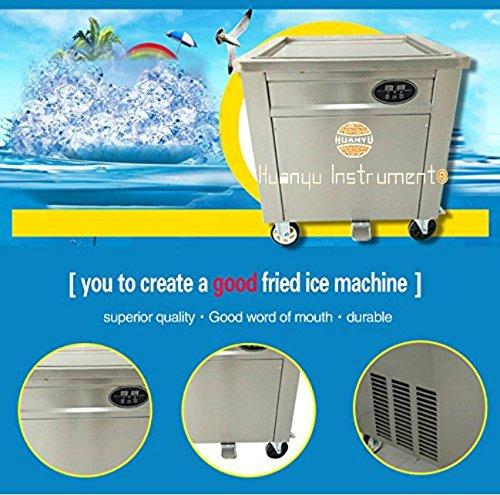 Huanyu Eiscremollmaschine für Obst, EIS, Milch, Joghurt mit Kontrollpanel, Thai-Spiegeleismaschine, Sliver White, 220V