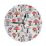 GOSMAO Reloj de Pared Redondo, Seta, Reloj de decoración del hogar para Sala de Estar, Dormitorio, Oficina