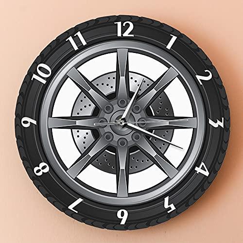 YYMM Reloj de Pared de jardín al Aire Libre, Reloj de Pared Retro de 12 Pulgadas Reloj de neumático Rueda Auto Reloj de Pared Vintage Reloj de Pared Taller de Coche para el hogar Decoración