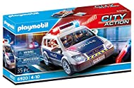 Fun for little police officers: PLAYMOBIL police car with cool light and sound effects and many accessories for accurate role-play Two figures, two different sirens, removable roof, space for five figures, folding back seat, etc., can be combined wit...
