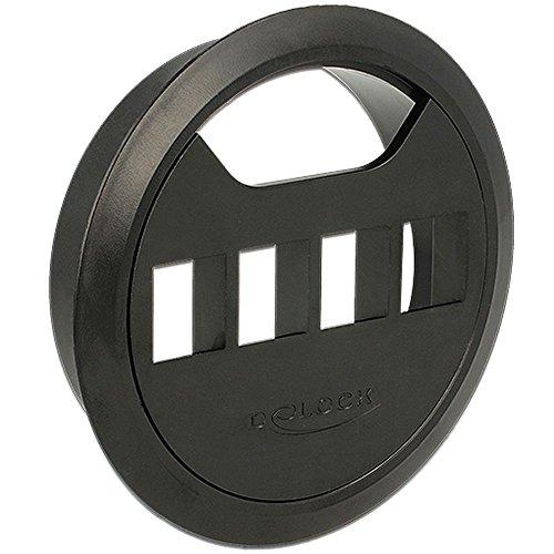 DELOCK Keystone houder 4-poorts tafelinbouw 80 mm zwart